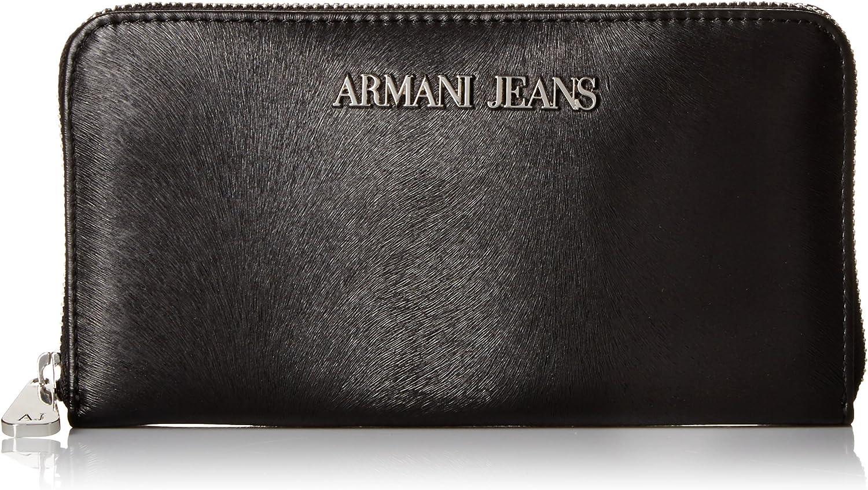 Armani Jeans Damen Geldbörse Portemonnaie Bifold Geldbeutel Schwarz B01GG2J646