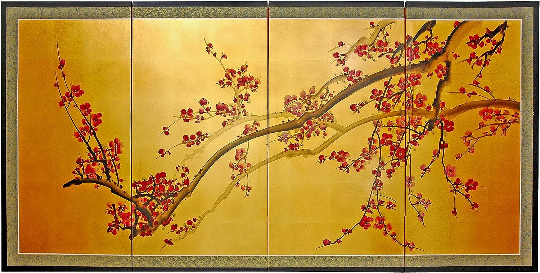 Oriental Over item handling Furniture Plum Tree on Leaf Gold 36