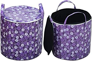 "Magnetic Shadow Floral PVC Laundry Bag for Clothes and Toys (16""x17"")"