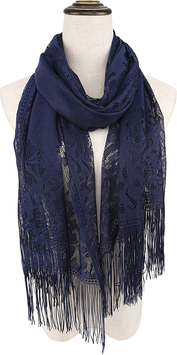 YOUR SMILE Ladies/Women's Lightweight Solid Color Fringe Lace Tassels Long Shawl Scarf For Spring Summer Fall