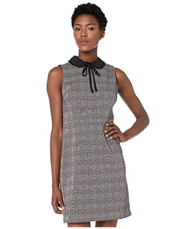 CeCe Sleeveless Menswear Plaid Collared Dress (Rich Black) Women