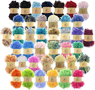 BambooMN JubileeYarn 50g Eyelash Ruffle Fur Yarn, 12 Skeins Surprise Package