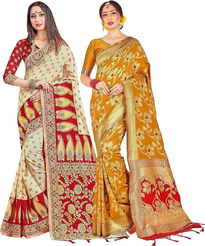 Pack of Two Free shipping on posting reviews Sarees for Women Detroit Mall Art Silk IndianDiwali Sari Banarasi