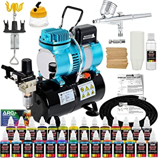 Master Airbrush Cool Runner II Dual Fan Air Tank Compressor System Deluxe Kit with Gravity Feed Airbrush, 24 Color Acrylic Paint Artist Set, Hose, Holder, Cleaning Pot, Mixing Cups Sticks How-To Guide