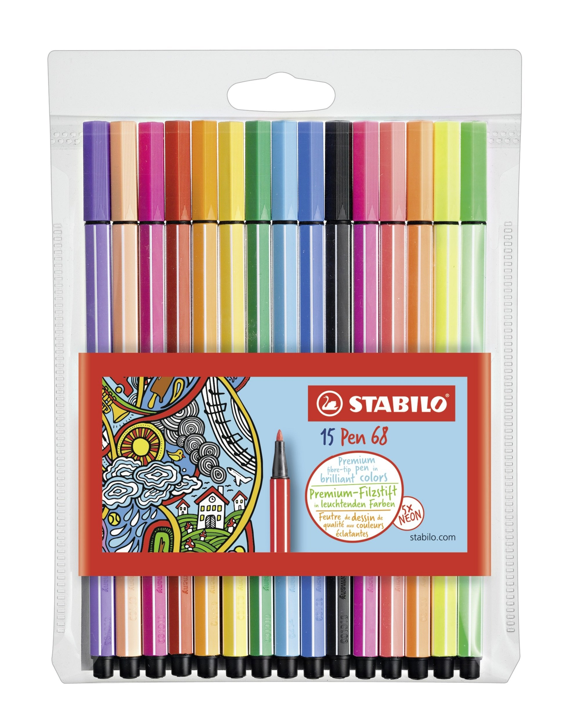 Stabilo Pen 68 Rotulador, Estuche con 15 colores surtidos, con 5 colores neón: Amazon.es: Oficina y papelería