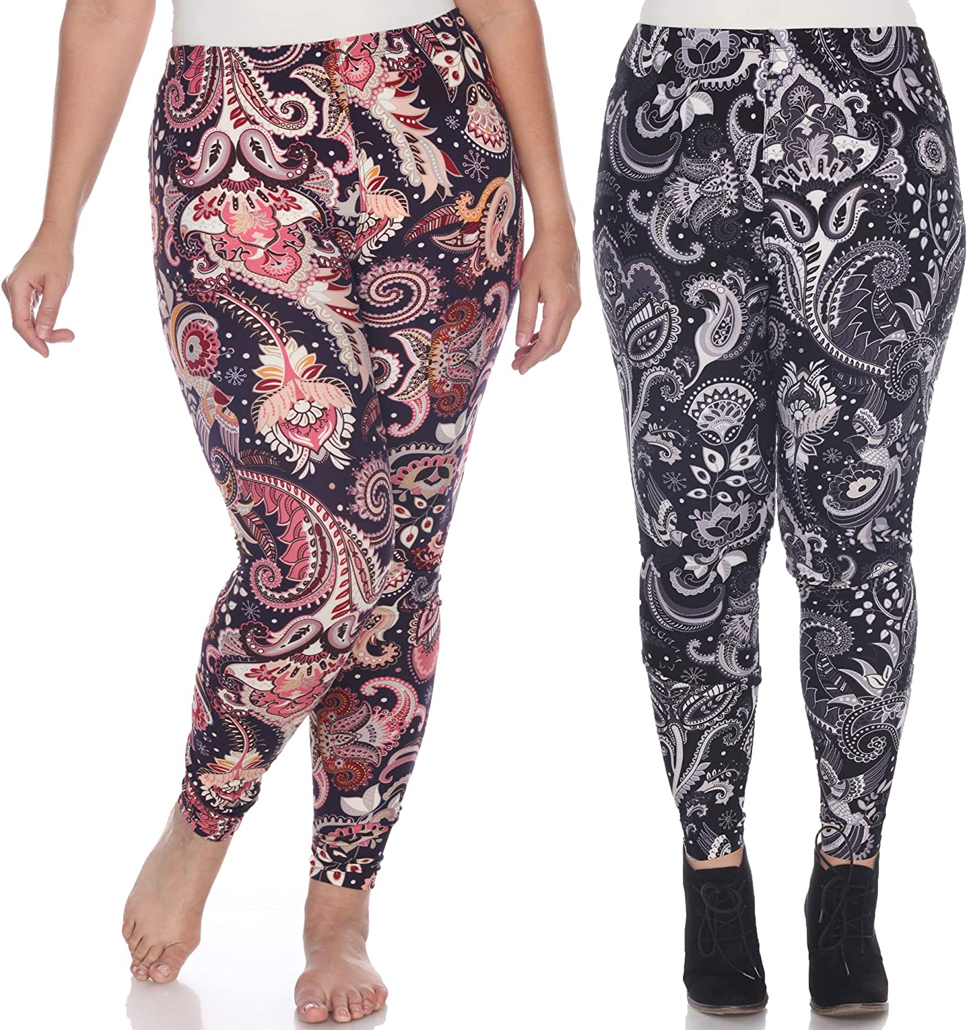 white mark Pack of Two ONE Size Plus Size Printed Soft Leggings