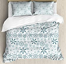 Ambesonne Winter Duvet Cover Set, Merry Xmas Theme Delicate Snowflakes Cold Freezing Weather Vintage Holiday Pattern, Decorative 3 Piece Bedding Set with 2 Pillow Shams, Queen Size, White Teal