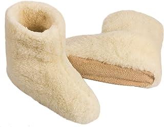 100% pura lana de oveja, zapatillas WOLL Zapatillas cabaña Zapatos Botas (Talla 36–47) Mujer Hombre–Natural