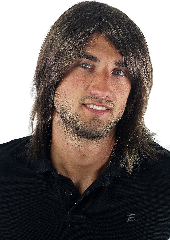 Peluca hombre, pelo largo, juvenil, moderno, informal, castaño GFW892-10 Toupet