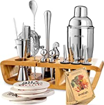 Bar Set Cocktail Shaker Set for Home: 25 Piece Mixology Bartender Kit With Stand | Ideal Barware Gift Set for an Amazing D...