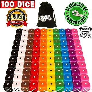 Vivorr Premium Dice Set of 100 Pieces, 10 Colors, 10 of Each Color, 16mm, D6, c/w Velvet Carry Bag / Pouch, Perfect for: Tenzi, Farkle, Yahtzee, Bunco, Board Games, Casino or Teaching Math. Ideal Gift