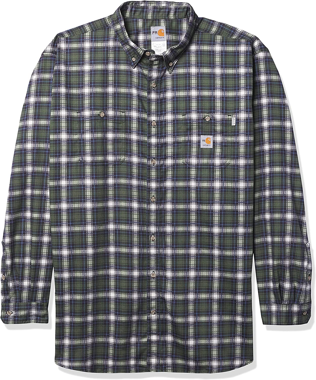 Carhartt Men's Flame Resistant Classic Plaid Long Sleeve Woven Shirt