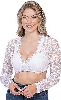 Schöneberger Trachten Couture Dirndlbluse aus Spitze weiß - Elegante Langarm Strech Dirndl Bluse Teil-transparent Vroni