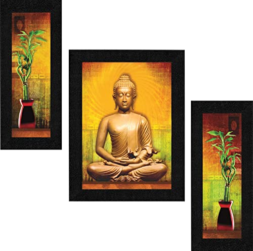 SAF Set of 3 Buddha Vastu UV Coated Home Decorative Gift Item Framed Painting 13.5 inch X 22.5 inch SAF30