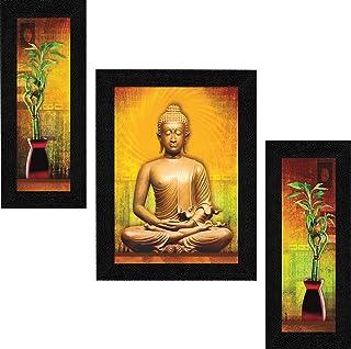 SAF Set of 3 Buddha Vastu UV Coated Home Decorative Gift Item Framed Painting 13.5 inch X 22.5 inch SAF30
