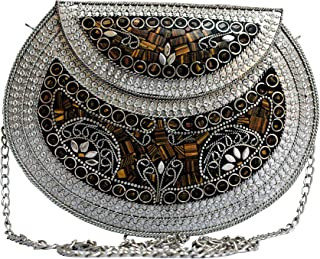 CREATIVE MARTS Jewel Mosaic Design Metal Work Party Clutche Bag Gold and Multi for Women