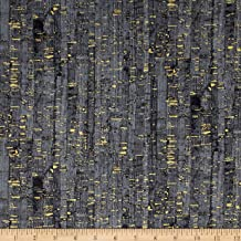 Windham Fabrics Uncorked Charcoal Metallic Gold Fabric By The Yard