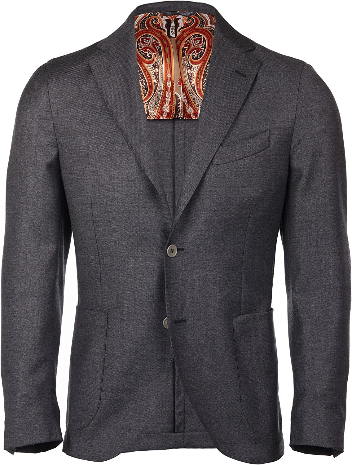 Mens Blazer in Medium Gray with Two-Button and Patch Pocket. Made in Italy
