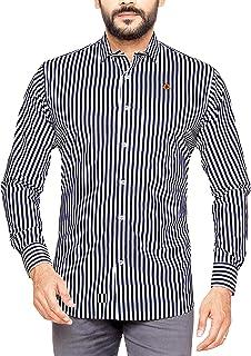 PP Shirts Men Blue Coloured Striped Casual Shirt