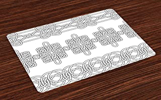 Ambesonne Irish Place Mats Set of 4, Indigenous Motifs in Stencil Art Style Celtic Culture Outline Tribal Victorian, Washable Fabric Placemats for Dining Room Kitchen Table Decor, White Black