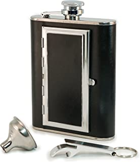 Perfect Pregame Flask - Cool 6 oz Stainless Steel and Leather Alcohol Flask with Compartment/Cigarette Case - For Men and Women - Drinking Flask for Liquor and Smokes