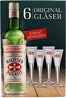 Original Malteserkreuz Aquavit 2cl Gläser 6 Stück