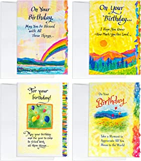 """Blue Mountain Arts Classic """"Happy Birthday"""" Greeting Card Bundle—4 Unique 3-Panel Cards with Different Uplifting Birthday Greetings For The Special People in Your Life, Printed in USA"""