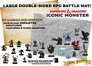 20 Random Dungeons and Dragons Nolzur's Marvelous Unpainted Miniatures Featuring 2 Iconic D&D Monster + Large Double Sided RPG Battle Grid Game Mat + 2 Random Set-of 7 Dice