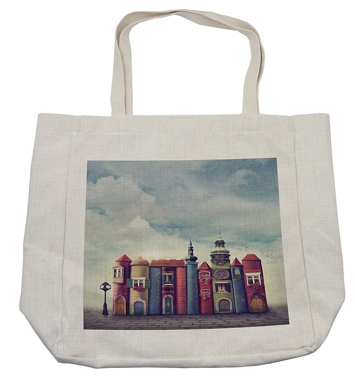追加する控えめな誇張するAmbesonneファンタジーショッピングバッグ、City With古い本スタイルBuildings Birds and Cloudy Sky文学都市景観、環境にやさしい再利用可能なバッグfor Groceriesビーチ旅行学校& More、クリーム