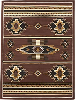 Rugs 4 Less Collection Southwest Native American Indian Area Rug Design R4L SW3 in Brown Chocolate (5'X7')
