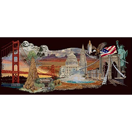 Aida DIY Kit Thea Gouverneur Counted Cross Stitch Kit America 544A Embroidery Kit 29.1 x 13.4inch Pre-Sorted DMC Threads