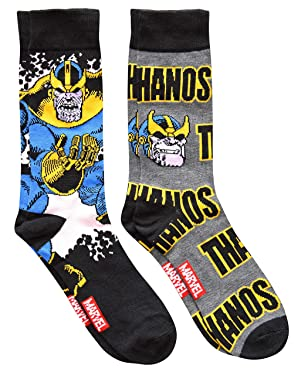 Marvel Thanos Avengers Men's Crew Socks 2 Pair Pack Shoe Size 6-12