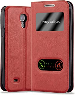 Cadorabo Book Case Works with Samsung Galaxy S4 in Saffron RED – with Magnetic Closure, 2 Viewing Windows and Stand Function – Wallet Etui Cover Pouch PU Leather Flip