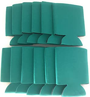 CSBD Beer Can Coolers Koozie Sleeves, Soft Insulated Reusable Drink Caddies for Water Bottles or Soda, Collapsible Blank DIY Customizable for Parties, Events or Weddings, Bulk (12, Teal)