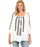 Karen Kane Plus - Plus Size Embroidered Top with Ties