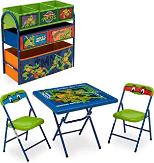 Delta Children Nickelodeon Teenage Mutant Ninja Turtles Playroom Solution Set (Table & Chair Set + Metal Multi-Bin Toy Organizer)