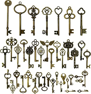 42pcs Mixed Vintage Skeleton Keys, Salome Idea 42 Styles Key for Alice in Wonderland Party, Each 1piece (Brone)