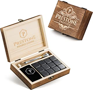 Premium Whiskey Stones Gift Set   12 Polished Granite Reusable Ice Cubes   Complete Luxury Handcrafted Set - 12 Stones, Engraved Wooden Box, Velvet Bag and Tongs   Perfect Gift for Men (Gift Set)