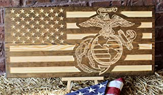 Marine Corps American Flag Engraved Wood Sign