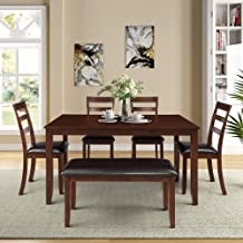 GLCHQ 6pc Dining Room Table Set with 4 Ladder Chairs and Bench