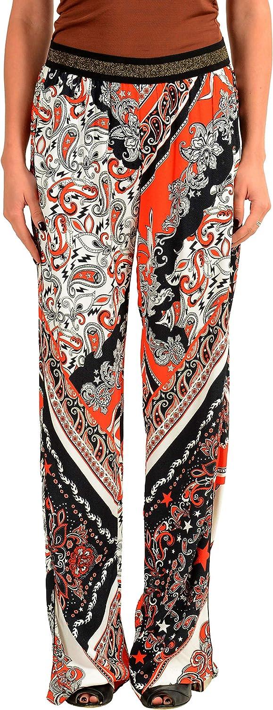 Just Cavalli Women's Graphic Designed Wide Leg Casual Pants US 4 IT 40