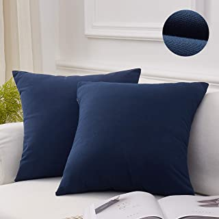 MoMA Decorative Throw Pillow Covers (Set of 2) - Linen Blend Pillow Cover Sham Cushion Cover - Throw Pillow Cover - Sofa Throw Pillow Cover - Square Decorative Pillowcase - Navy Blue - 18