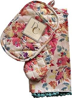 Deborah Connolly Kitchen Set Oven Mitt Potholder Tea Towels Spring Floral on Ecru Background