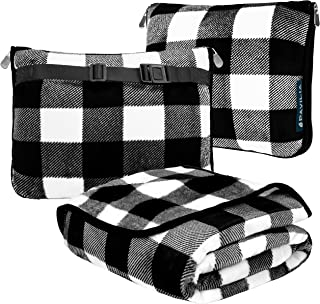 PAVILIA Travel Blanket and Pillow | Warm Soft Fleece 2-in-1 Combo Blanket for Airplane, Camping, Car Trips | Large Compact...