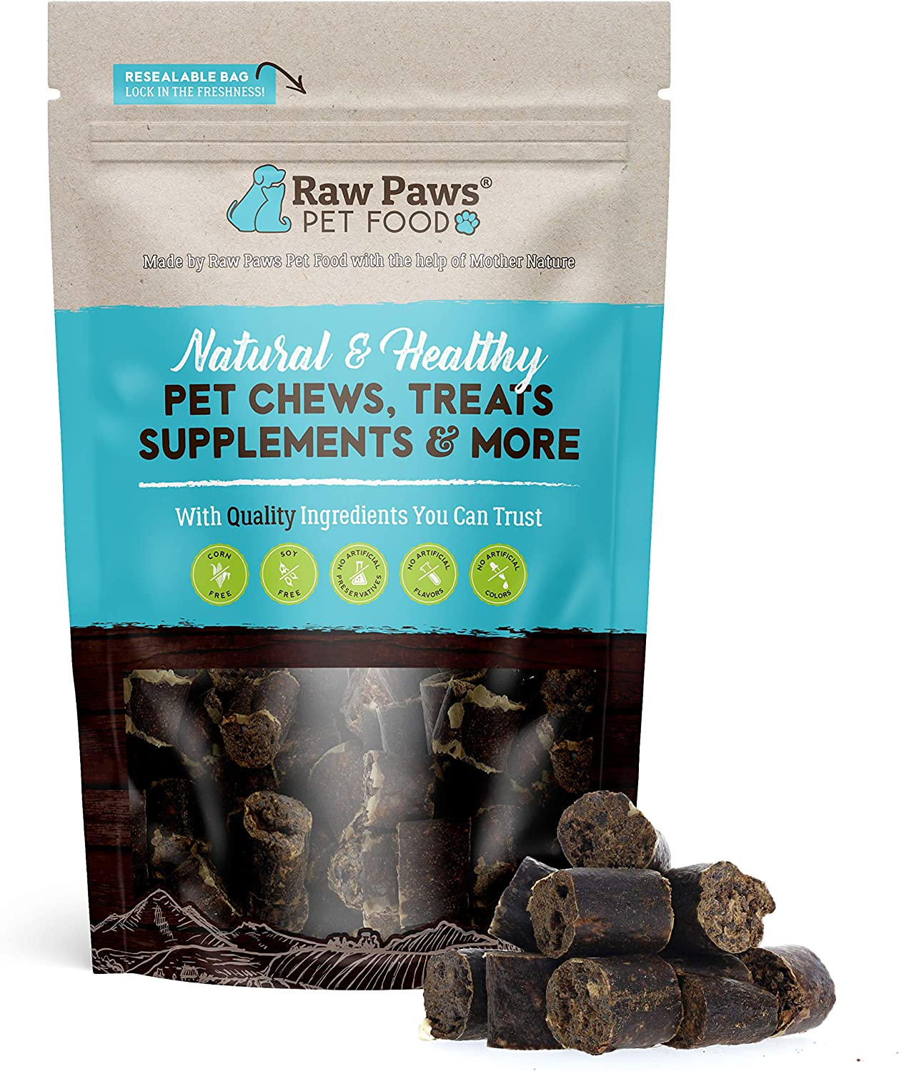 Raw Paws Grain-Free Sausage Beef Challenge the lowest price Dog Smal Dogs for Treats Long Beach Mall Large