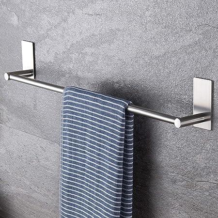 WJTRK1 Toallero Adhesivo Plegable,Aleaci/ón de Aluminio Toallero Pared para Ba/ño,con Gancho para Toallas y Barra de Toalla Ajustable,Silver