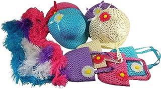 Girls Tea Party Hats Purses Boas Dress Up Play Set for 4 Sun Hats Costumes