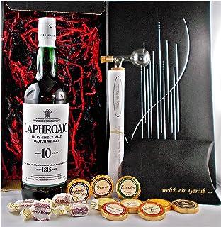 Geschenk Laphroaig 10 Jahre Single Malt Whisky  Glaskugelportionierer  Edelschokolade  Fudge