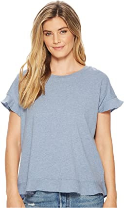 Soft Spun Jersey Crossover Back Top w/ Flounce