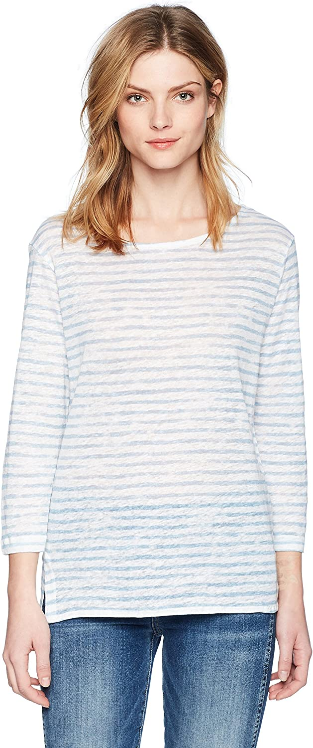 Majestic Filatures Womens Linen Stripe 3 4 Sleeve Boat Neck Shirt